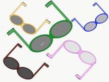 Lunettes de soleil de cinq couleurs pour l'extérieur illustration de vecteur