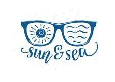 Lunettes de soleil d'été de vintage avec la citation Photographie stock