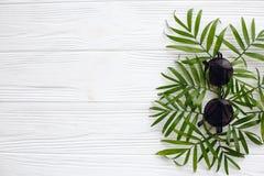 Lunettes de soleil noires élégantes sur les palmettes vertes sur le Ba en bois blanc Photographie stock