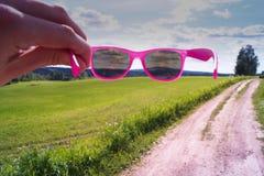 Lunettes de soleil roses Photographie stock