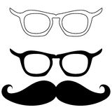 Lunettes et moustache noirs - icônes réglées Photo libre de droits