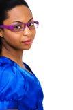 lunettes s'usant des jeunes de femme Images stock