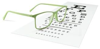 Lunettes vertes sur le diagramme d'essai visuel d'isolement sur le blanc Eyesigh images stock