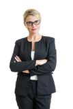 Lunettes weared par femme d'affaires de sourire d'isolement Image stock