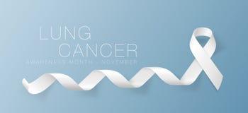 Lung Cancer Awareness Calligraphy Poster design Realistiskt vitt band November är cancermedvetenhetmånaden vektor vektor illustrationer