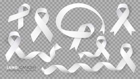 Free Lung Cancer Awareness Month. White Color Ribbon  On Transparent Background. Vector Design Template For Poster. Stock Photography - 152097962
