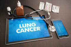 Lung cancer (cancer type) diagnosis medical concept on tablet sc. Reen with stethoscope royalty free stock photo