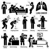 Lung Cancer Clipart. Set of illustrations for lung cancer disease which include the symptoms, causes, risk factors, and the diagnosis for the illness Stock Photography