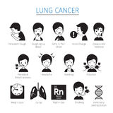 Lung Cancer Icons Set, monochrome Photographie stock libre de droits
