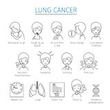 Lung Cancer Outline Icons Set Images stock