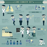 Lung cancer set and info graphics Stock Photo