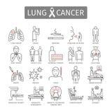 Lung Cancer Symptomen, Oorzaken, Behandeling Geplaatste lijnpictogrammen Vectortekens Royalty-vrije Stock Foto's