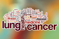 Lung cancer word cloud with abstract background Stock Image