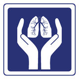 Lung care sign. Vector illustration of lungs between hands sign Stock Photos