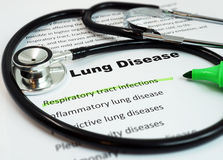Lung Disease and Respiratory tract infections. Paper with words  Lung Disease and Respiratory tract infections with marker and stethoscope Royalty Free Stock Photos