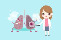 Lung with health concept. On the blue background Stock Photos