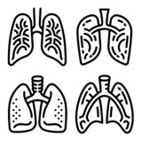 Lung icon set, outline style stock illustration