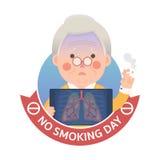 Lung Problem di fumo con il segno non fumatori di giorno Immagini Stock Libere da Diritti