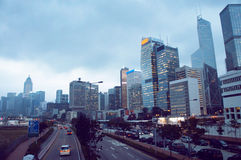 Lung Wo Road in the Central district of Hong Kong Stock Photography