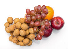 Lungan, druif, sinaasappel, appel Stock Afbeelding