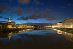 Lungarno Firenze evening Royalty Free Stock Images