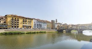 Lungarno by Ponte Vecchio in Florence. Italy Stock Photos