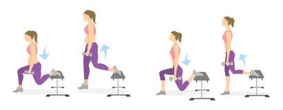 Lunge ćwiczenie dla nóg ilustracja wektor
