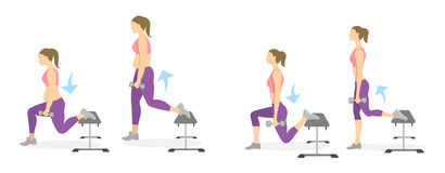 Lunge exercise for legs. vector illustration