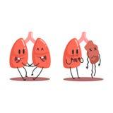Lunge-menschliches inneres Organ gesund gegen die ungesunden, medizinischen anatomischen lustigen Zeichentrickfilm-Figur-Paare im lizenzfreie abbildung