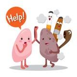 Lungen krank vom Rauche, Zeichentrickfilm-Figur, menschliches inneres Organ lizenzfreie abbildung
