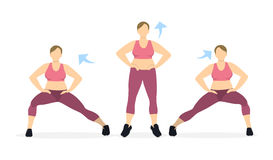 Lunges exercise for legs. vector illustration