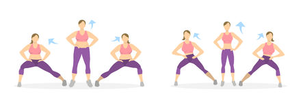 Lunges exercise for legs. Lunges exercise for legs on white background. Healthy lifestyle. Workout for legs. Exercises for fat women. From fat to skinny Stock Photography