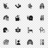 Lunginflammationsymbolsuppsättning, enkel stil royaltyfri illustrationer