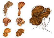 Lungo intreccia i capelli marroni creativi, isolati su fondo bianco Acconciature di una donna Insieme delle illustrazioni di vett illustrazione vettoriale
