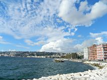 Lungomare and Adriatic seashore in autumn season at Naples. Royalty Free Stock Photo
