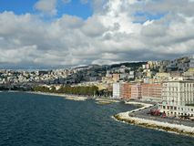Lungomare and Adriatic seashore in autumn season at Naples. Royalty Free Stock Photography