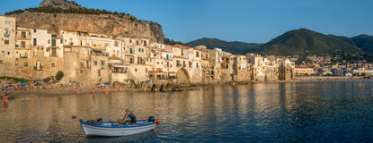Lungomare beach in Cefalu, Sicily. Italy. Stock Image