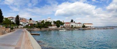 Lungomare dell'isola di Spetses, Grecia Immagine Stock