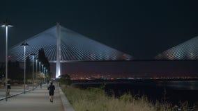 Lungomare della città e Vasco da Gama Bridge alla notte, Portogallo video d archivio