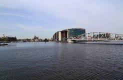Lungomare di Amsterdam in Olanda Fotografia Stock