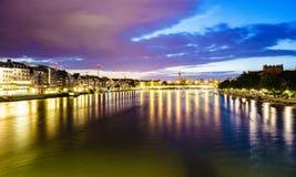 Lungomare di Basilea sul fiume di Reno, Svizzera Fotografie Stock Libere da Diritti