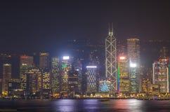 Lungomare di paesaggio urbano di Hong Kong sopra il porto di Victoria Fotografie Stock