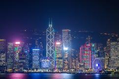Lungomare di paesaggio urbano di Hong Kong sopra il porto di Victoria, Fotografia Stock Libera da Diritti