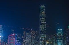 Lungomare di paesaggio urbano di Hong Kong sopra il porto di Victoria Immagini Stock