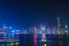 Lungomare di paesaggio urbano di Hong Kong sopra il porto di Victoria, Fotografia Stock