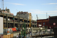 Lungomare di Seattle con il viadotto durante la costruzione di argine Fotografia Stock Libera da Diritti