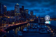 Lungomare di Seattle, grande ruota fotografia stock libera da diritti