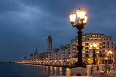 Lungomare Nazario Sauro. Bari. Apulia or Puglia. Italy royalty free stock images