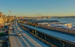 Lungomare nella città di Seattle fotografia stock