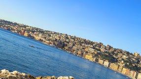 Lungomare -  seashore of Napoli along the  touristic harbor of Mergellina Royalty Free Stock Photo